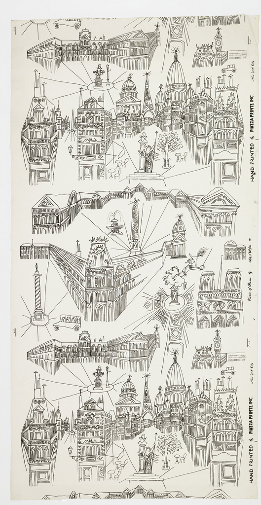 On a white ground a stylized line drawing in black of buildings, squares and monuments of Paris including the Pantheon, Place de Victoires, Place dela Concorde, the Louvre, Sacre Coeur, Notre Dame, Place Vendome and the Eiffel Tower.