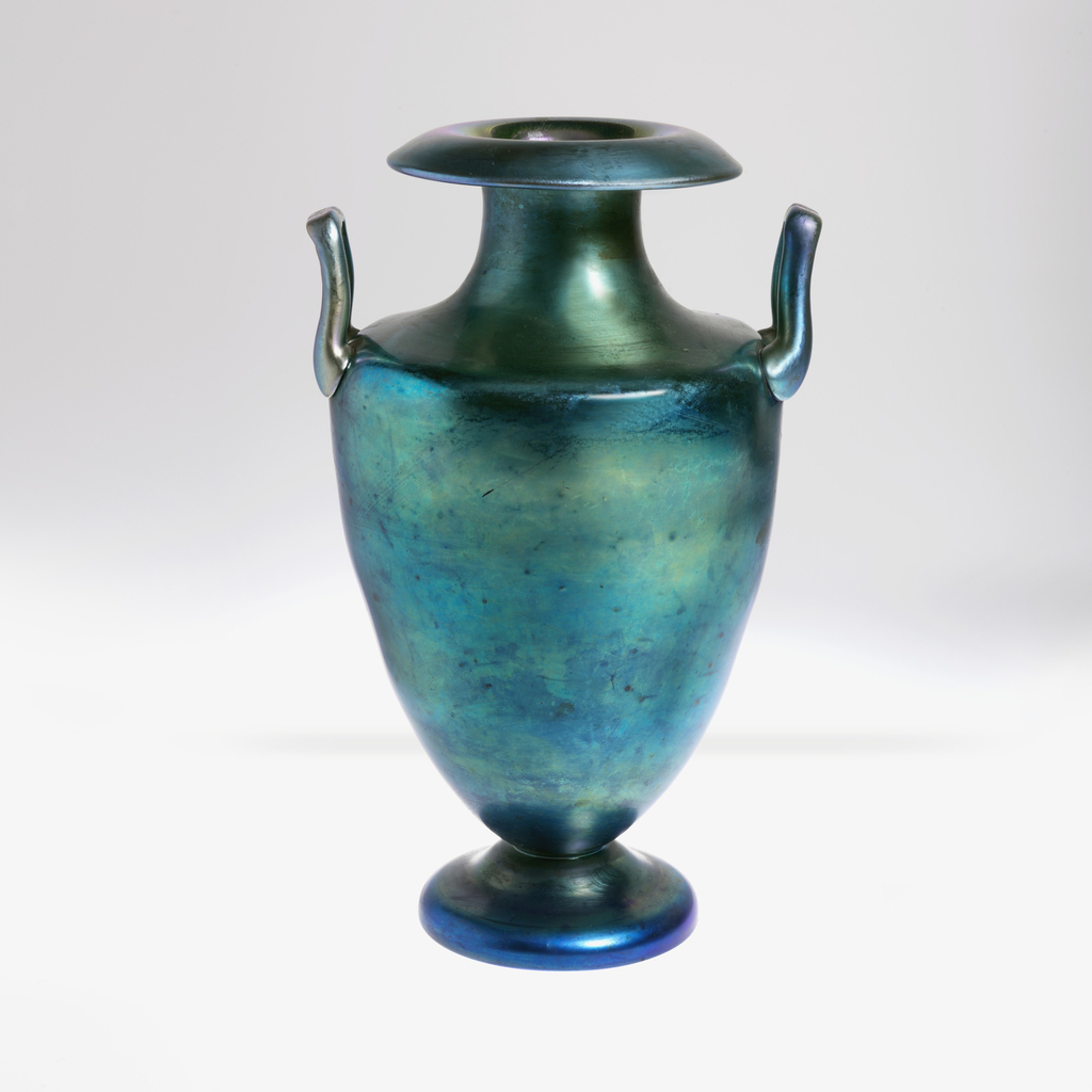 Irridescent blue two handled amphora-shaped  vase.
