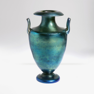 Irridescent blue two handled amphora-shaped  vase.