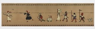 "Nursery or children's frieze in non-repeating pattern showing children playing games: leapfrog, badminton, etc. Dressed in Pilgrim and medieval costume. Printed in black, white, red, green, blue and yellow on tan oatmeal paper. Registration number printed in selvedge: ""715612""."