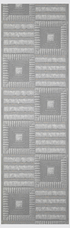 Simulated woven fringe design, printed in shades of blue-gray, white and pink. Loosely woven square shapes alternating with four fringy stripes.