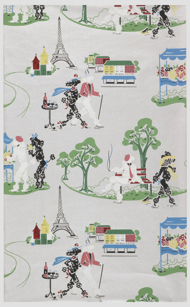 A pair of standard French poodles appear in a variety of landscape views in Paris. In one scene the white male poodle is seated on a bench smoking, as the demure black female saunters by covering her face with a fan as she drops her handkerchief; another scene shows the pair at a flower vendor, another shows them strolling with a view of the Eiffel Tower. Printed in colors on a silver ground.