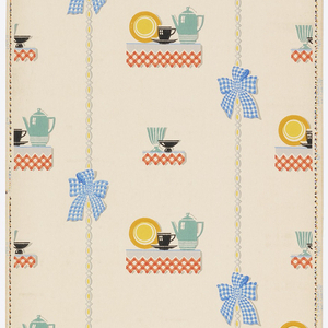 Kitchen paper, featuring shelf-like plateaus with red plaid table cloth, with a shelf holding a coffee pot, cup and plate, alternating with a shelf holding two compotes. Separating each vertical row is a gray ribbon tied with blue plaid bow. Printed in colors on white ground.