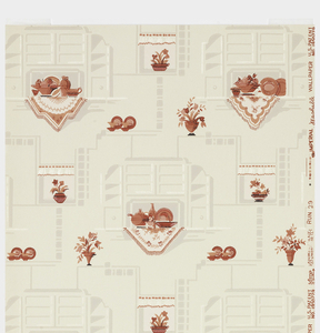 Kitchen wallpaper, containing red dinnerware on table cloths set within shelving unit and bouquet of flowers in vase. Printed in red and gray on off-white ground.
