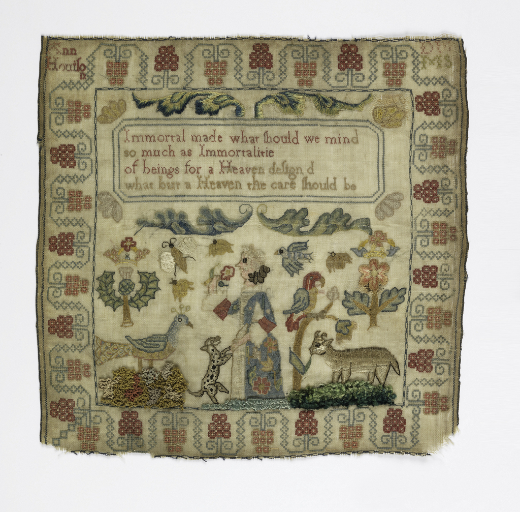 Square embroidered sampler with a woman and a spotted dog, a cow, and a peacock surrounded by birds and insects, flanked by a crowned thistle and a crowned rose. Stylized grapevine border. In a cartouche at the top, a verse:   Immortal made what should we mind so much as Immortalitie of beings for a Heaven designed what but a Heaven the care should be