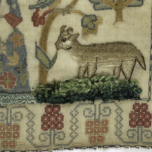 Square embroidered sampler with a woman and a spotted dog, a cow, and a peacock surrounded by birds and insects, flanked by a crowned thistle and a crowned rose. Stylized grapevine border. In a cartouche at the top, a verse: 