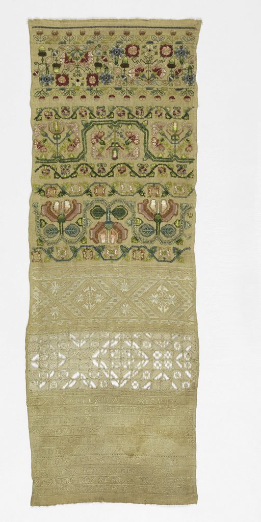 Cross border of floral patterns and text. The same embroiderer made 1941-69-61.