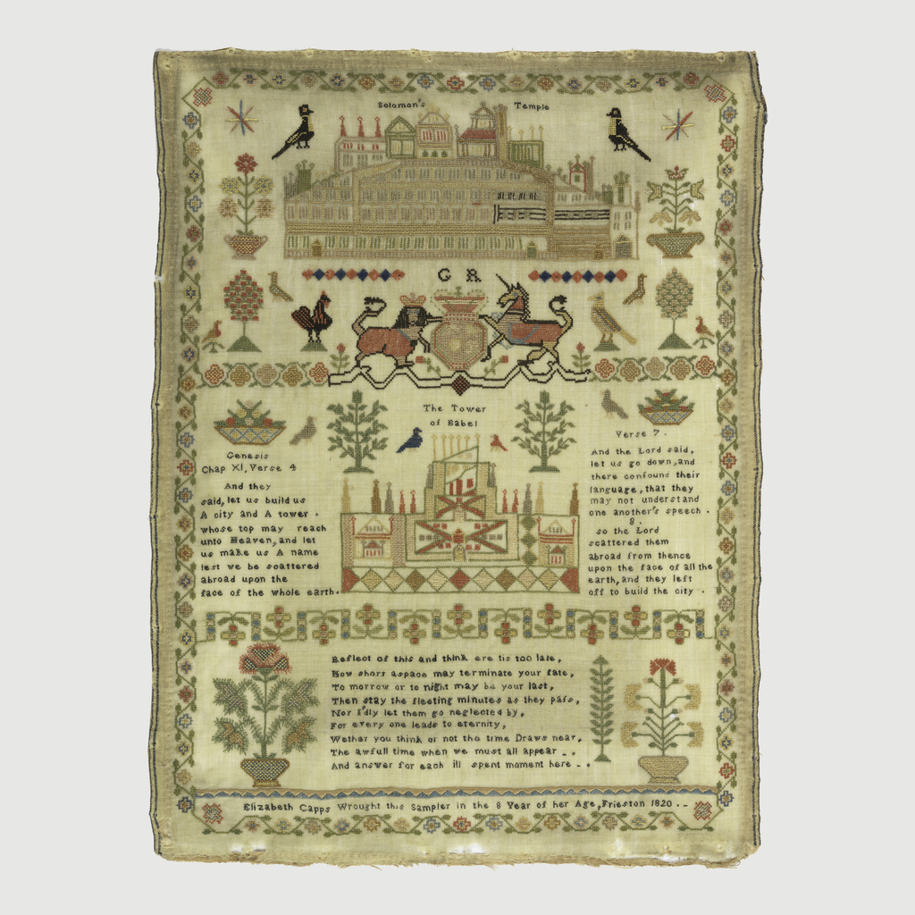 """Solomon's Temple; shield with lion and unicorn; Tower of Babel verses and Biblical quotations; scattered ornaments throughout; inscription """"Elizabeth Capps wrought this sampler in the 8th year of her age, Frieston, 1820.""""  Surrounded by floral border."""