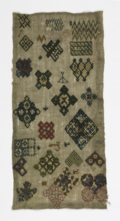 Random spot sampler, detached motifs embroidered with colored silks and metallic thread in interlacing and geometric designs.