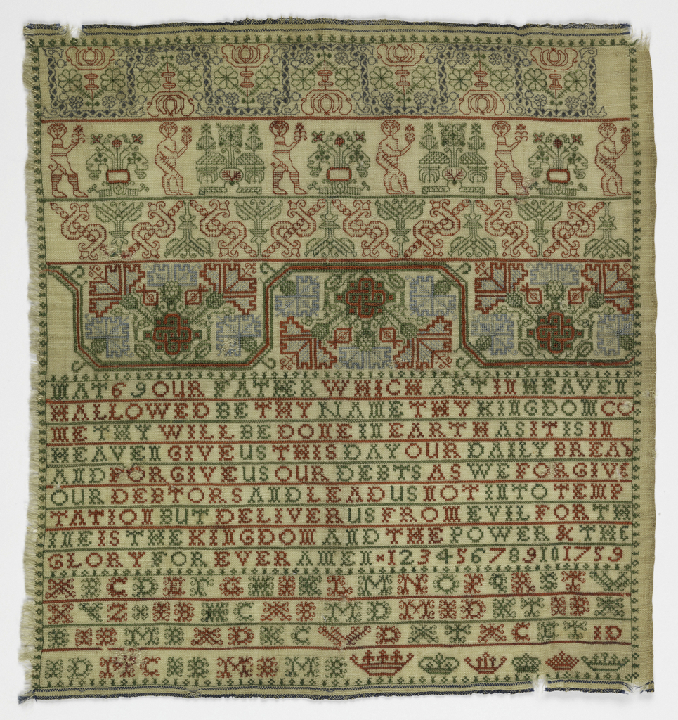 """Four cross borders with floral ornament and """"boxers""""; The Lord's Prayer; alphabets, numerals and date."""