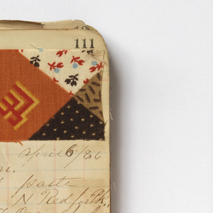 Small notebook with handwritten formulas for dyestuffs to be used for printing textiles. 210 samples in various designs including printed patchwork.