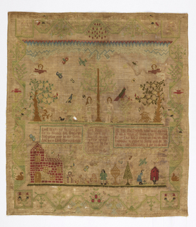Embroidered sampler. Silk on wool canvas showing Adam and Eve surrounded by plants and animals. Below, three moralizing Bible verses and figures with a brick house and large chalice. Meandering green border with plants and birds.
