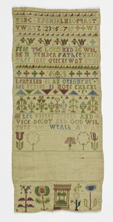 Sampler with border of a line, repeating triangles and another line with the alphabet and numbers one through nine embroidered below. Another line and triangles with florals and decorative border with text below: THE LORD AND __ WILL BE TENDER FATHER UNTO THEE LOVE GREENWAY 1721. Border of repeated triangles with floral border below and words __ IS AN ORNAMENT BUT VERTUE IS MORE EXLENT. Embroidery of flowers and trees with empty space between another floral embroidery at the bottom.