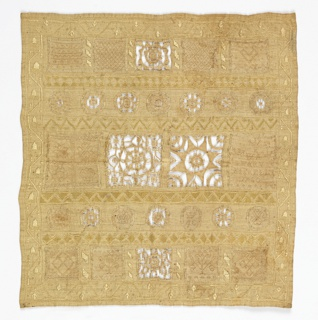 Small square sampler with bands of circles and squares filled with needle lace in a variety of patterns including hearts, crowns, flowers, and geometric motifs. One hollie point square has three crowns, WA, Mary Finkel 1730, and AC beneath the crowns. Border of acorns and plants.