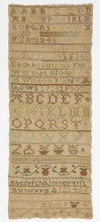 Long vertically rectangular sampler with a verse, three alphabets, two sets of numerals and two floral bands arranged in rows. The verse reads:  Each beautious Flower that grows  Gods Wisdom Plainly shows   Signed Charlotte Spier 1788 Aged 9