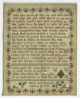"""Memorial verse with a curving floral border. Signed """"Mary Ann Howard, April the 26 1799."""""""