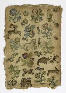 """Random Spot"" sampler of isolated floral and animal motifs."
