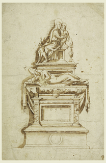 """Vertical rectange.  Below is a dado which is shown in bird's-eye view.  Upon a pedestal with the tablet for the inscription, of which the letters """"D O M"""" are inserted, and which is framed by pilasters with trophies of shields, stands the sarcophagus.  Upon it lies a cloth, the prelate, wearing a tunic and the mitre.  An escutcheon with six roundlets, 3, 2, 1.  A pedestal rises behind the figure.  Above is a group of the Virgin and the Child, who stands beside her upon a bench.  Candelabra stand in the right front; and the left back corners."""