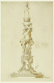 The foot is decorated with beads and festoons.  A satyr couple seated on pilaster strips support the socket in which a burning candle sticks. Reverse; horizontally.  A caryatid supporting an entablature; plans; scribbling; graphite.