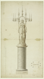 A woman standing on a column supports both handles of a stand with seven sockets (meant to be eleven) holding burning candles. Four sockets are decorated with lion heads and other three with stylized foliage. Lower right, perspective diagram shows all eleven sockets with arms; left is scale.