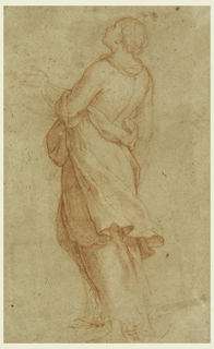 Shown in three-quarter profile from the back, a woman with flowing robes and head and hand raised.