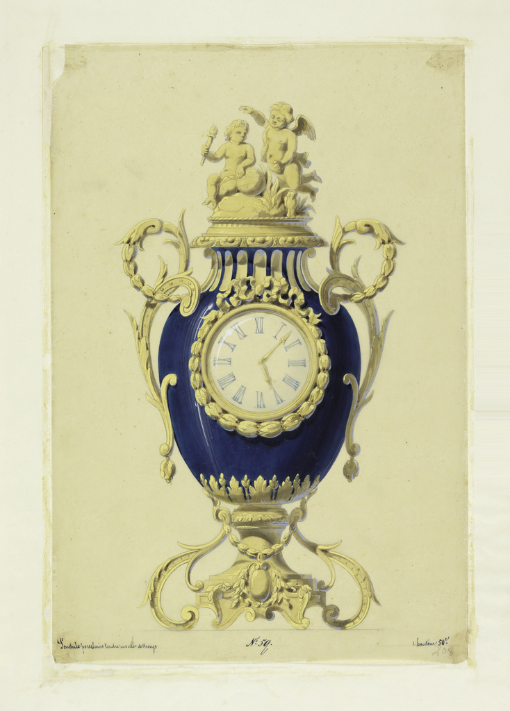 Front elevation; the body of the clock is a blue porcelain vase with the clock itself set on the face of it. the frame of the clock handles, lid base are bronze. Two bronze cupids surmount the lid.
