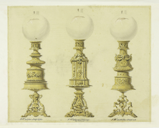 Designs for three lamps of ornamental bronze, surmounted by glass globes. Each one varies in design, but they all have leaf and foliage details and filigree work.