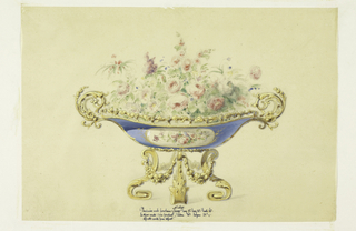 The body of the jardiniere is of blue porcelain, with a central field containing a spray of roses against a light background, within a narrow gold frame.  Mounted on a bronze base, composed of scroll legs joined by swags. Bronze handles and enframements.  Flowers in the jardiniere.