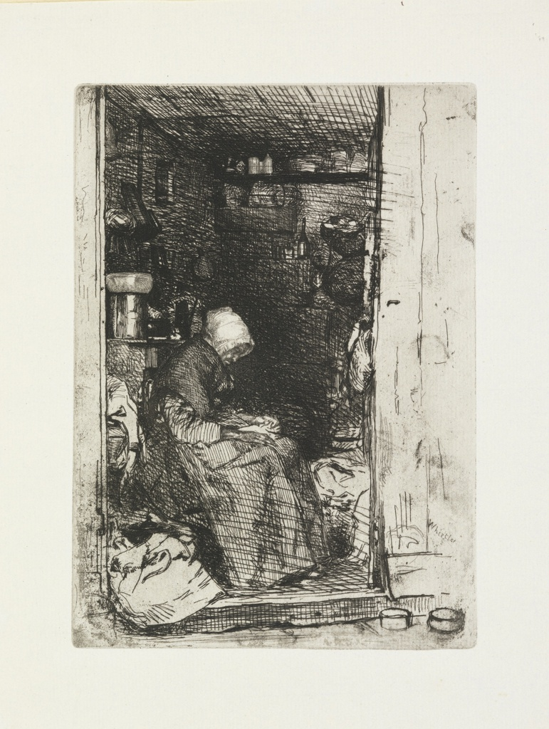 In an open doorway of a shop sits an old woman in right profile, hands in lap, and head bent forward in sleep. On the shelves above and beyond her are various odds and ends.