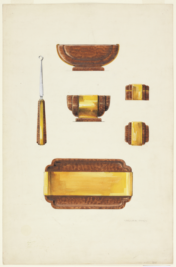 Design for a toilette set consisting of a shoelace hook, two bowls, a box and a tray to be fabricated in tortoise shell and brass.