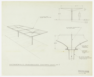 Design for a canopy with inscriptions labeling the different parts of the unit; perspective, plan, and elevation.