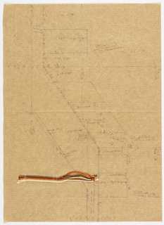 Weaving plan in graphite, in large vertical zigzag pattern; notations; attached are pieces of yarn.