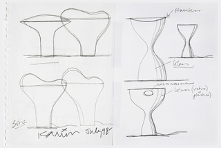 "Upper half of left sheet, two elevations :  one in elliptic mushroom form and the other a preliminary ""bone"" form.  Lower helf of sheet, two alternatives for ""bone"" form.  Upper half of right sheet two variations of hourglass or ""Garbo"" form:  one to be executed with a stainless steel rim and glass body.  Lower half of sheet, another variant of ""Garbo"" form with hole cut in top for a handle and intended to be executed in glass or plastic.   Verso:  three sketches of interlocking ""T"" shapes. in different formations."