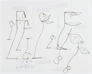 Sketches for lamps from left to right, all with tall thin stands, small bases, and shades at top in form of flowers, giving a plant-like feel to lamps.  The shades on the right-hand side are similar in form to a tray design for Kovacs. Note:  some of the collaged sheets have design sketches on the verso but it is not possible to access these.