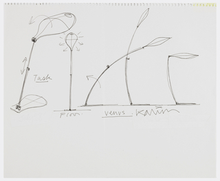 "Five sketches positioned horizontally across center of sheet.  Reading left to right, the first two designed with large dish-like shades with blob-shaped bases and adjustable stands. The next three have more closed petal-like lampshades on adjustable stem-like stands and are entitled ""Venus."""