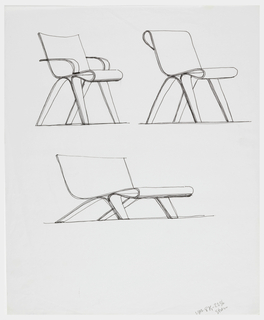 Upper half of sheet, two perspective views of chair, of bent, unspecified material (perhaps plywood), one with arm rests; center, perspective view of a low-lying chair also formed with a bent, unspecified material with front part of front legs are integral with the seat and back of chair.