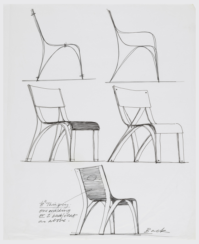 Drawing Five Chair Designs For Plycraft Nd Objects