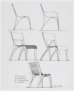 Five designs for a plywood chair showing two alternative side elevations, two alternative perspective views, and a rear perspective view, showing different construction methods.
