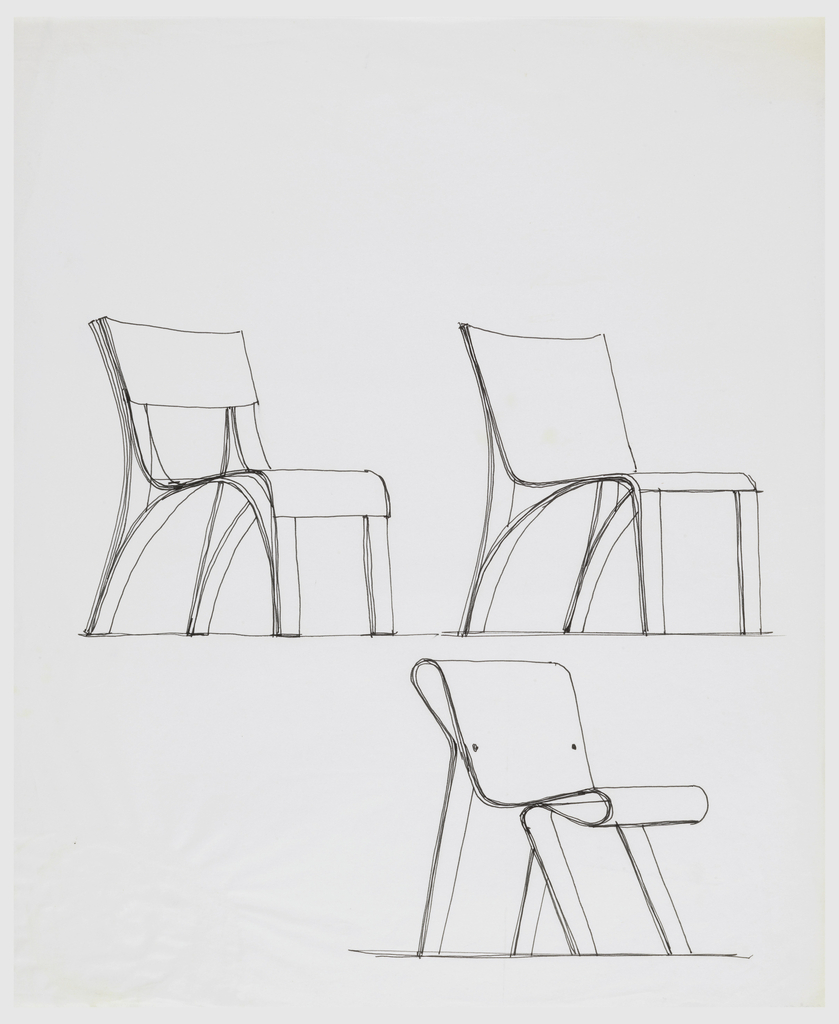 Three different chair designs; two above and one below.