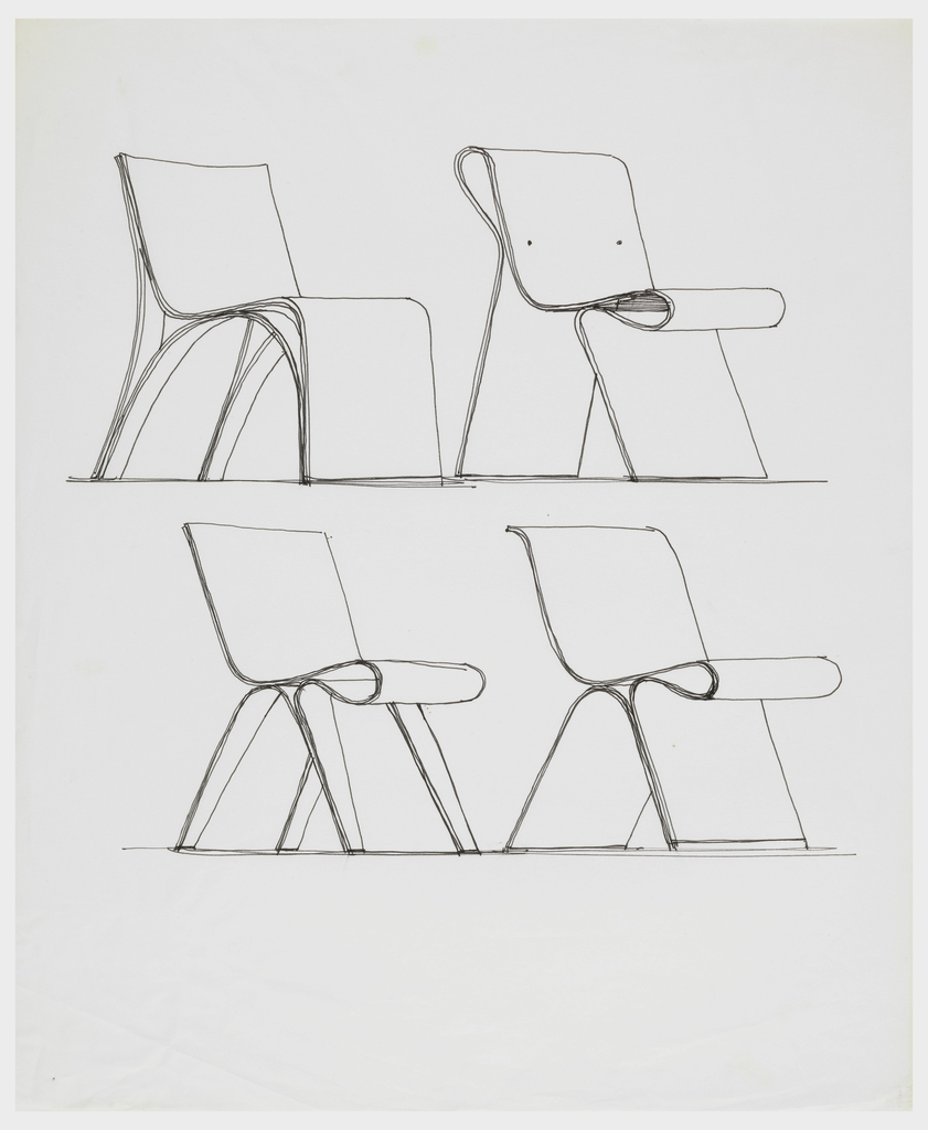 Four chair designs showing different leg and back constructions.  All designs show the back, seat, and front legs or leg formed out of a continuous piece of bent plywood.