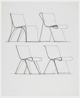 chair design drawing. Four Chair Designs Showing Different Leg And Back Constructions. All Show The Back, Design Drawing