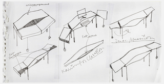 "Three designs for different desk arrangements with fold-out side extensions, a pull-out keyboard shelf, and a hose at the back for computer wires; and three detail sketches of ""bulge"" shaped desk top."