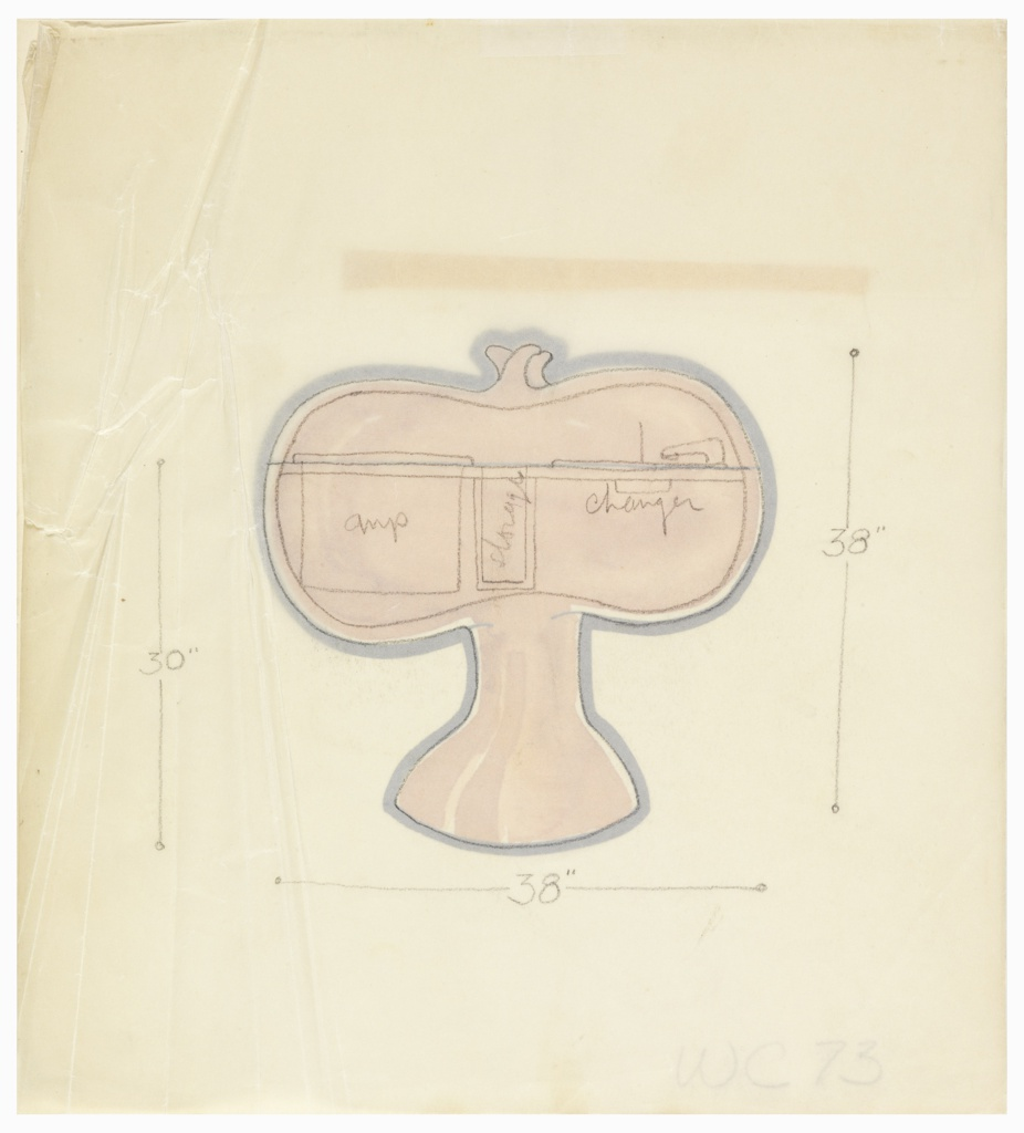 Black outline of an organic, bulbous form connected to a wide footed, trunk-like base. Three ornamental bud-shapes appear at top center. The form is bisected by a thin black horizontal line to suggest the lid line. The interior of the form is colored in a reddish-brown or sienna colored wash. The tracing paper overlay indicates the arrangement of the stereo apparatus inside.