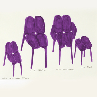 Four purple seats, each with a label in graphite underneath: OSSO CHILDREN CHAIR; OSSO CHAIR; OSSO ARMCHAIR; OSSO STOOL.
