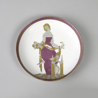 Circular form; white ground glazed in pink and gray with gilding; image of woman dressed in strapless pink gown, standing on one foot in a yoga-like pose, behind miniature architectural arch and an urn, and holding tray with goblet and bread in her right hand, a flower in her left.