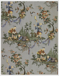 Vertical rectangle, double-panel width. Two alternating motifs: one depicting man in Oriental costume holding aloft a writing tablet, with flying bird above him. The other shows two men in Oriental costume cooking a bird in a pot over a fire. Motifs are surrounded by foliate branches and floral sprays. Printed on blue-gray ground.