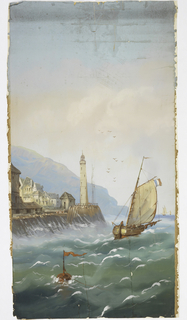 One panel of a set. Sailing vessel with French flag; buoy in foreground. Mountains in the distance. Village with lighthouse at left. Blue-green sea, graded sky.