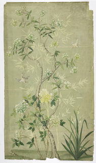 Printed on a pale green background. Darker green ground at bottom. Flowering tree with white blossoms, and large peony plant with white and pale yellow blossoms. Bamboo trees in the background. Flying white birds.