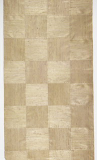 Squares of lavender grasscloth arranged in checkerboard pattern on gold paper turned alternately vertically and horizontally, and backed with fine Japanese paper.