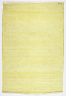 Lemon-yellow silk gauze laminated to white rice-paper with irregular pattern of coarse fibers.